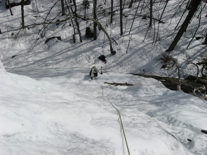 Climbing up the first pitch of Crane's Waterfall Wall