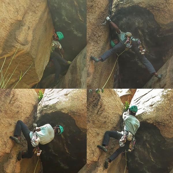 Aravind Selvam on the crux of Devil's Snare.