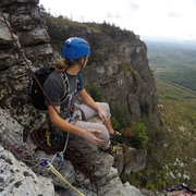 Rock Climbing Photo: Taking in the view from the second belay on Dopey ...