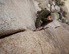 """""""Shar enjoying generous crack at the top of Apparition. Another 20' of of crack and this line would be a blue ribbon."""""""