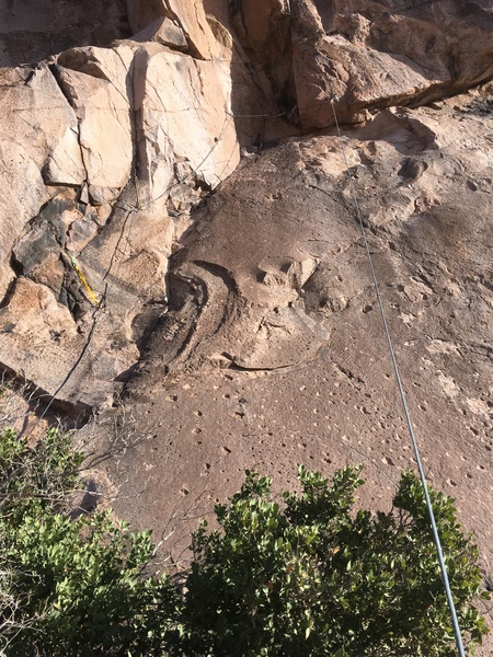 The 5.7 pitch, sewn up with lots of sketchy gear placements.