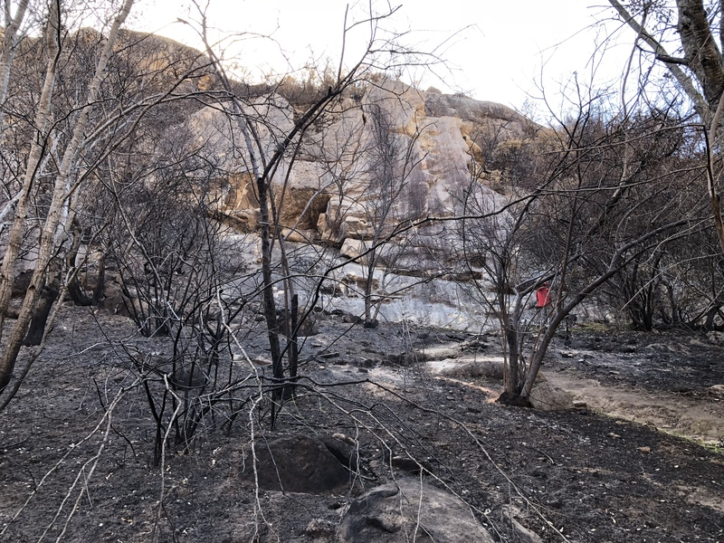 What the West formation looks like from the trail after the Thomas Fire