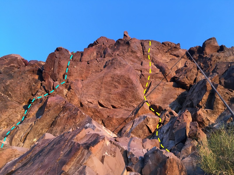 On rappel with the two bolts on The Gnome (yellow) to the right, and a single bolt visible further left on Loose Lieback (teal).