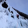 First pitch starts out steep, on poor ice which improves as you get higher. Photo: Scott Backes