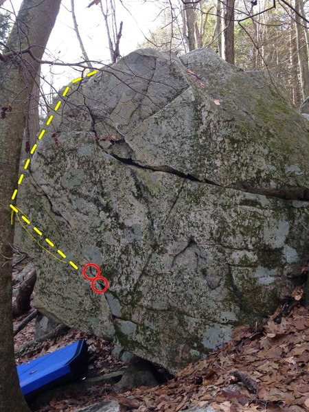 The red circles are the start, then it follows around the arete and then up.