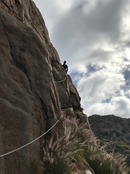 Michael Lagueux leading the traversing second pitch of Cruise Line