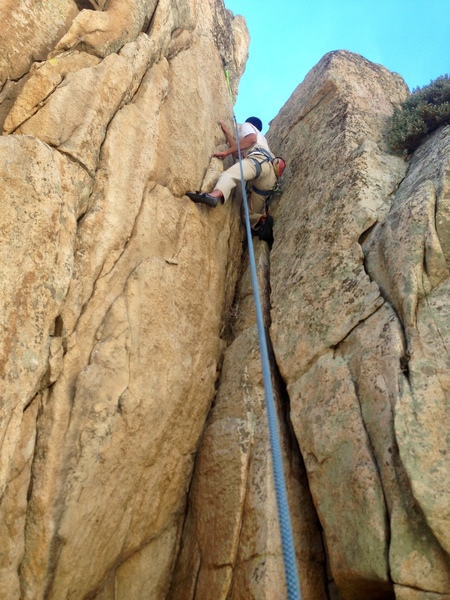 Having fun on an unknown crack on the West Wall.