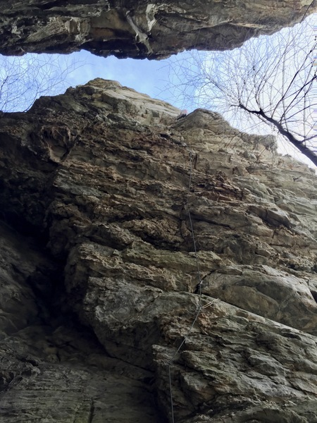Tim Fisher on the first ascent of Church Lady.  <br> <br> Hangin' with Diablo takes the vertical crack left of the rope line.