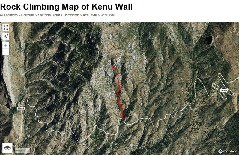 The approach to Kenu Wall. Locate a small dirt pullout on the right side (on right hand bend in the road), approximately 4.8 miles up Sherman Pass Road from Mtn 99. Park here and cross to the left side of the road. You'll be able to see Kenu Wall and The Grandfathers from here. There is a tension wire gate that allows acess. Please close it as you leave and enter since this is leased national forest land for cows to occasionally graze. Follow a cairned trail that meanders up the sloping ridge.