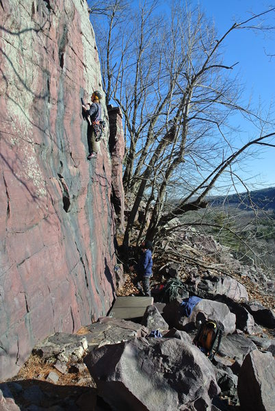 I came along with the needed soft catch (a couple of bouldering pads) and this kid had the determination.  A sunny warm Jan day at Balanced Rock Wall and a great ground up lead of Watermarks Direct.  Rich Bechler was here in spirit.
