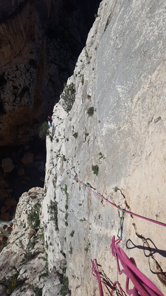 Looking back at pitch 5. A few pieces of gear would have been nice on this one, two old pitons, some tat on a Chalkstone and one Rusty Bolt was a bit thin for protection on the thirty meter pitch. Fortunately the climbing was quality in the 5.9 or 10a range