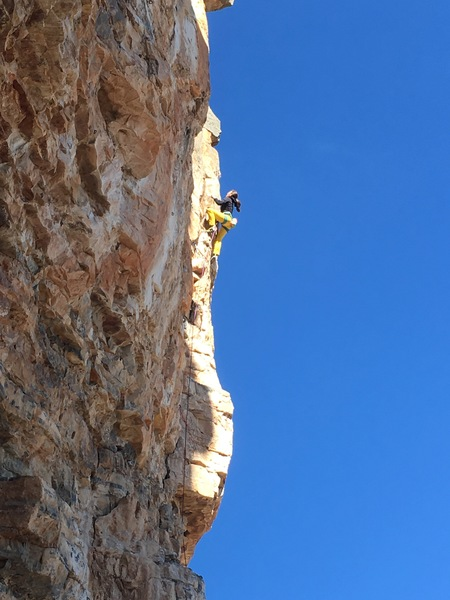 Tiffany enjoys some sunny arete climbing in the upper section.