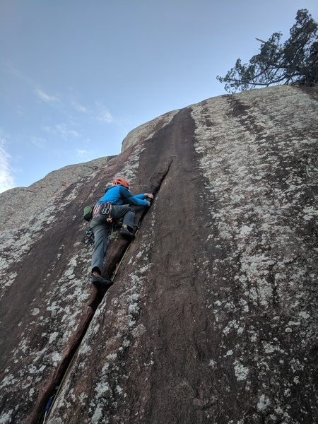 Jon approaches the top of the crack and is about ready to transition onto the slab.