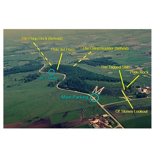 Aerial shot showing the general locations of the areas