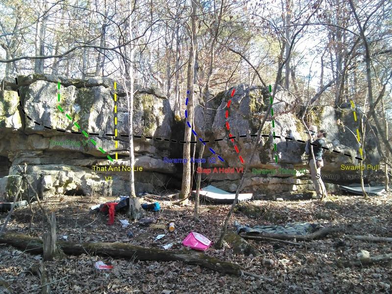 Boulder with lines from left to right.<br> Tree frog V1<br> Aint no Lie V0<br> Swamp Arete V2<br> Slap a Hold V1<br> Swamp Thing V0<br> Swamp Pull V0<br> Swamp traverse V3
