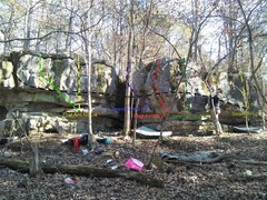Boulder with lines from left to right.