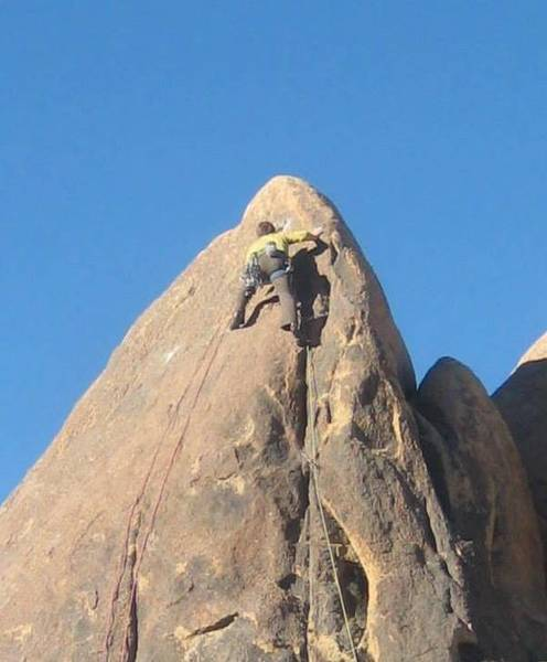 Dave Daly making a run for it on the first ascent of 'Chumlee'