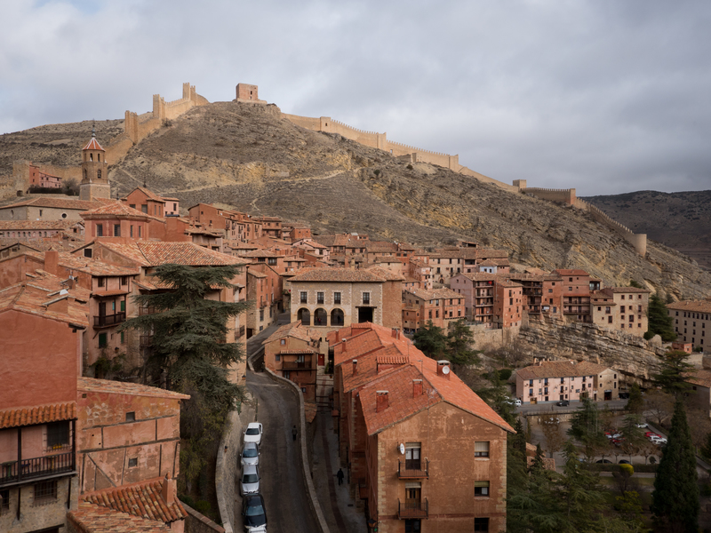 The village of Albarracin is surrounded by an ancient wall. The tower on top of the hill is approximately 1000 years old.
