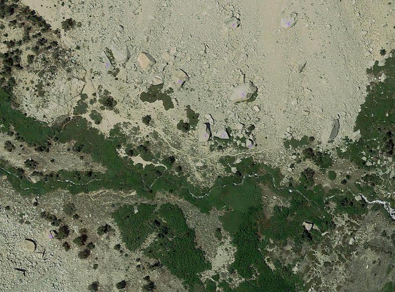Heaven Topo<br> 1. Creek Boulder<br> 2. Warmup Boulder<br> 3. Low Roof<br> 4. Whale Boulder<br> 5. Orange Slab Boulder<br> 6. Iron Woman<br> 7. The Pit<br> 8. Cracked Boulder<br> 9. Mustache Ride<br> 10. Tang