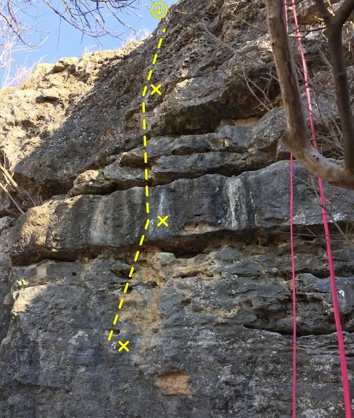 Bolts and anchors for PLD. Start on the thin boulder below the first bolt.