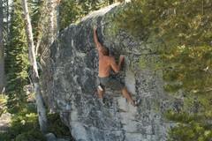 Rock Climbing Photo: Sticking the last hard move