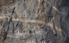 Traffic jam on The Nose. Shot from El Cap meadow with a 400mm lens
