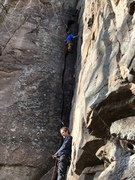 I am never a fan of offwidth climbing. But this was pretty fun. Great for the grade.