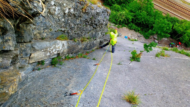 Me on the  first belay of the Grand Dihedral (Grand Diédre) 5.8