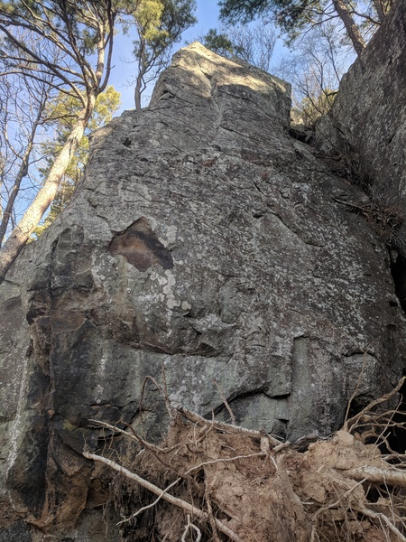 Climbs the face, just right of the arete