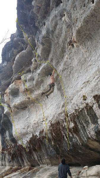Lines on the left side of Wrath Wall. From left to right, Hyperactive, Pocket Envy, Zenith. Sean Donahue cuts loose on Zenith 5.12a.