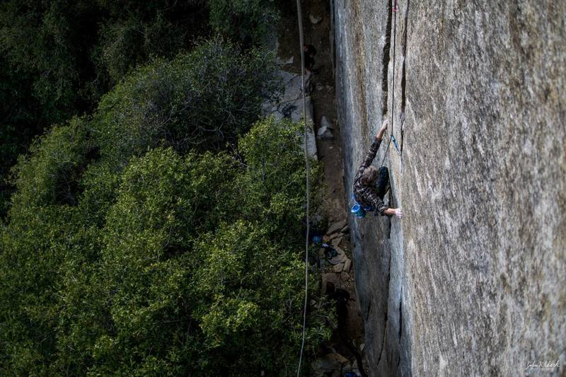 Ron Skelton throwing down a 77th birthday follow after taking a whip off the crux on lead.