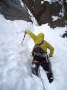 Steve D plows his way to the base of the route