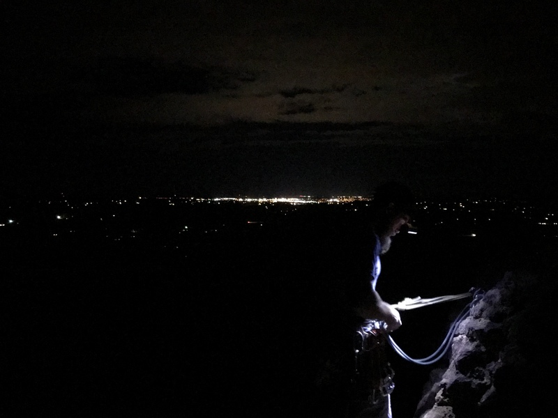 Top of Monkey Face after dark