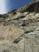 View up rope from belay.