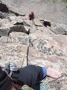 Rock Climbing Photo: Nephew Gabe Kuenn on Bomber Peak SE ridge, Bighorn...