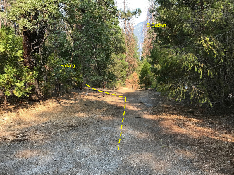 The old road that you walk on (toward Ranger Rock (Manure Pile) briefly, before turning left at a small boulder, continuing up a well cairned trail to the base