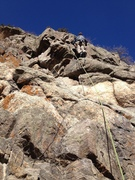 Rock Climbing Photo: Near the bottom. The first two bolts are not clipp...