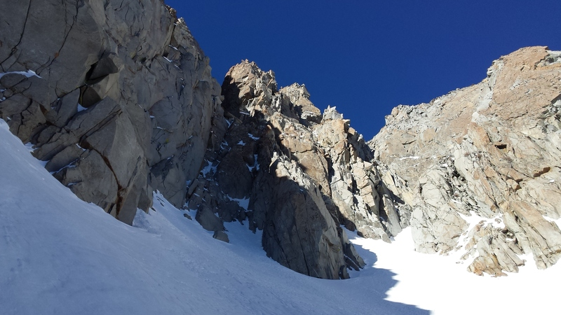 Looking up the route from the very beginning of the couloir.