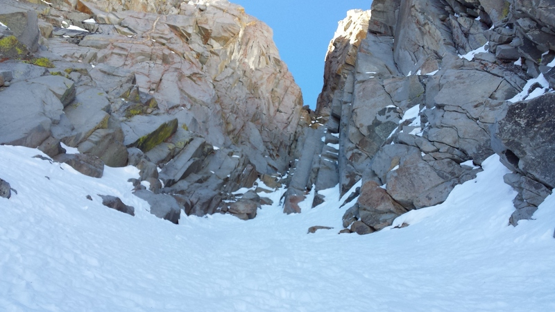 Looking up at the first rock step. In years with heavy snowfall, this may be completely covered.