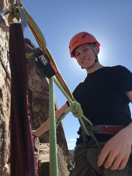 Nathan on the belay ledge