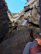 In the first belay alcove, looking up the excellent 2nd pitch.