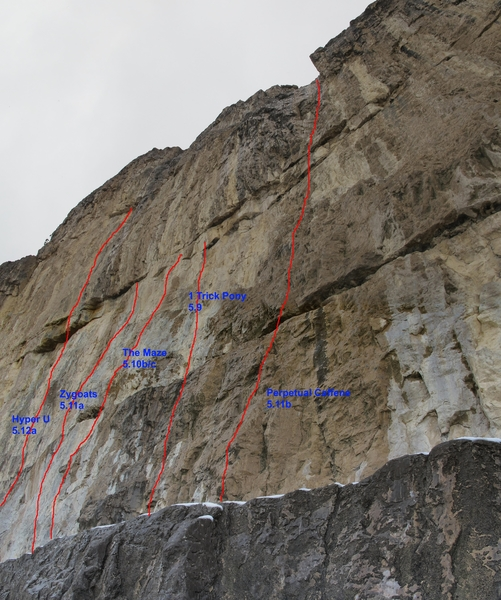 New Porcelain Wall (upper Ledge) Routes