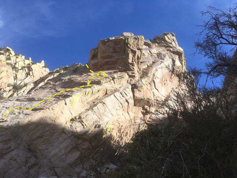 The upper part of P1 and the lower part of P2 on the West Face of False Tooth.