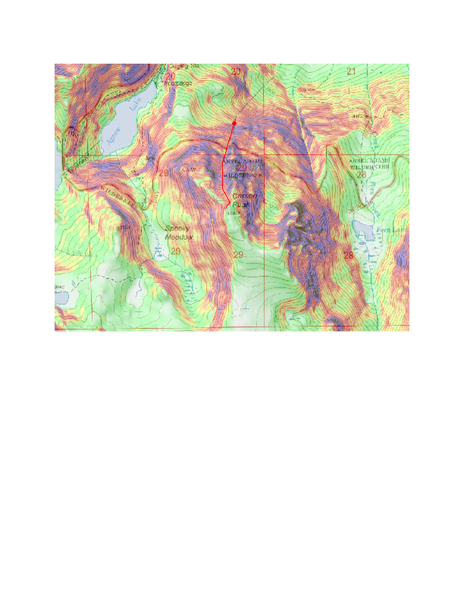 Relief shaded topo map of Carson Peak, showing Pete's Dream