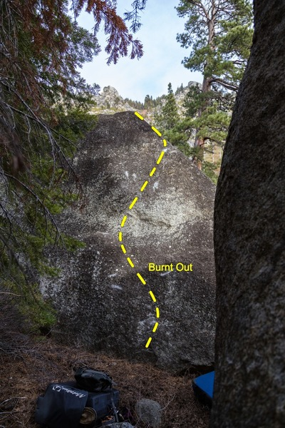 Burnt Out (V3) on the right side of the parallel twin as seen from the downclimb tree of the perpendicular twin.