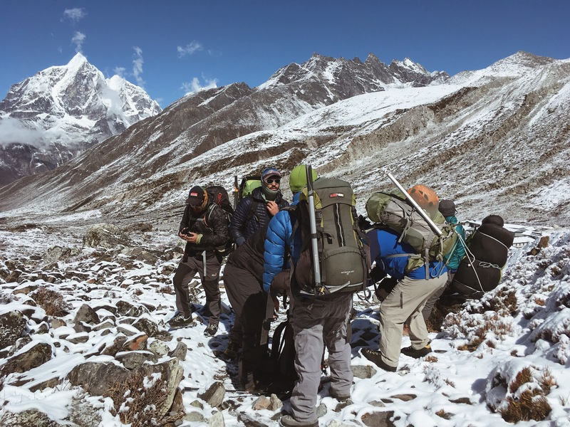 The team getting ready to head from the village of Chukkung to Imja Tse Basecamp.