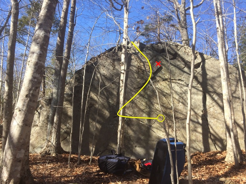 "This picture shows Mechanistic. Drawn is the start matching on the good crimp in the middle of the wall, but that may only be doable for climbers that are tall. (The red ""X"" is the flake that is iffy.)"