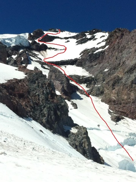 This was the first year my buddy and I attempted the route but as you can see the bergshrund was impossible to get over.  The following year we climbed the red line and the bergshrund was all filled in.