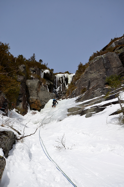 Laura Duncan leads P1--first known woman to put up an ice route in Panther Gorge.