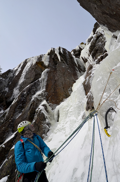 Brent Elliott at the belay for Charybdis (left) and Scylla (right).